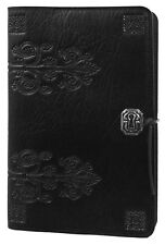 "DA VINCI Oberon Design Leather Journal 6""x9"" Large Black keyhole filigree JLM49"