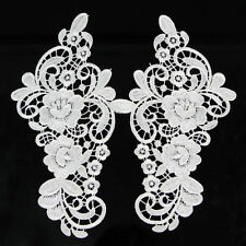 1 Pair Off White Flower Lace Trimming Applique Costume Dress Decor Sewing Craft
