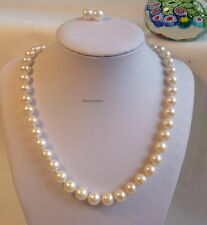 Silver Genuine 9-10mm circle freshwater pearl necklace+earrings set white