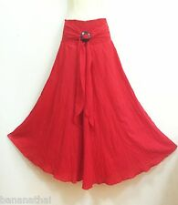 PEASANT BOHO CASUAL LONG SKIRT COTTON SOLID RED COCONUT SMOCKED SUMMER S M L XL
