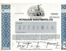 Petroleum Investments, Ltd. - Specimen Stock Certificate