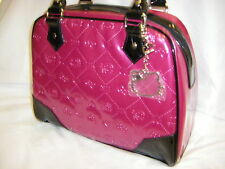 NWT LOUNGEFLY HELLO KITTY EMBOSSED FUSCHIA PINK MEDIUM SATCHEL BAG + KEY FOB