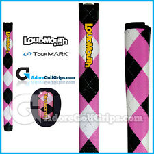 TourMARK Loudmouth Argyle Midsize Pistol Putter Grip - Black Pink White + Tape