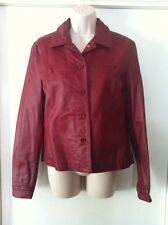 Beautiful Newport News Red Cropped Women's Leather Jacket, Size 8.