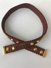 Christian Dior Leather Choker Necklace Cognac With Gold Studs And Logo