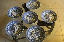 """6 Anciennes assiettes faïence anglaise  décor """" stone china N°14"""" Wedgewood"""