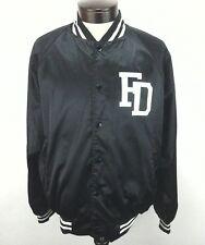 VARSITY Baseball Letterman College Black Satin Jacket FACEDOWN RECORDS Men's L