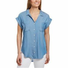 NEW Jachs Girlfriend Women's Cap Sleeve Button-Front Blouse XL Light Denim Chamb