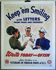 "WW II V F W LADIES AUX- USMC - USN - USA KEEP 'EM SMILING""  linen mounted poster"