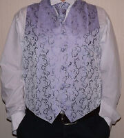 Mens Lilac Scroll Wedding Waistcoat with Cravat & Hankie