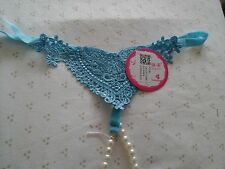 "TURQUOISE BLUE LACE Thong 4/6/8  Hip 28 30 32""  XS XXS S  g-string PEARL CROTCH"