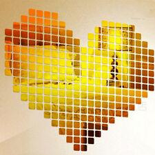 100Pcs Self-adhesive Mirror Tiles Sticker 3D Decal Mosaic Living Room Decoration