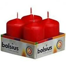 WHOLESALE BULK PACK OF 24 BOLSIUS RED 60mm x 40mm CHURCH PILLAR CANDLES 7HOUR!
