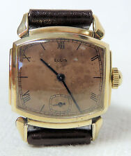 1939 Elgin 15 Jewels, TV Shaped Case Men's Wrist Watch, Serviced & Running!