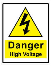 2 x DANGER HIGH VOLTAGE WARNING SELF ADHESIVE STICKERS SAFETY SIGNS BUSINESS