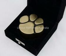 Solid Brass Bronze Cat & Dog Pet Paw Print Keepsake Cremation Funeral Urn + Case