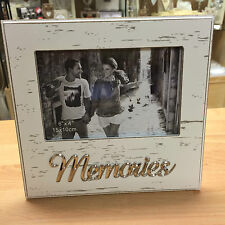 Memories white distressed shabby chic wooden photo frame Script writing 41003