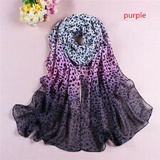 Fashion Women Lady Leopard Long Soft Wrap Lady Shawl Silk Chiffon Scarf
