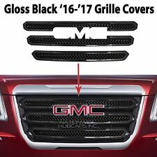 2016 2017 GMC Terrain BLACK Grille Overlay 3 Bar Front Grill Covers Inserts NEW