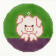 """LEE  Adorable Pink Pig Design handpainted Needlepoint Canvas 3"""" Rd.  Ornament"""
