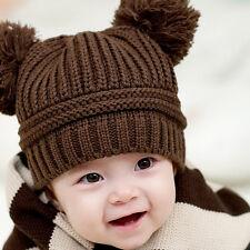 Toddler Kids Baby Boys Girls Pom Pom Knit Crochet Casual Beanie Hats Cap Coffee
