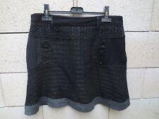 Jupe DESIGUAL noir skirt falda taille 44 doublure