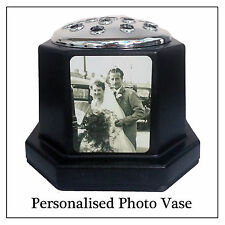 Black Photo Plaque Grave Vase & Silver Flower Pot, Personalise with any image