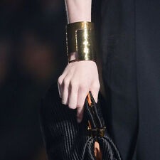 Gorgeous Lanvin Runway gold tone aged hammered wide cuff bracelet