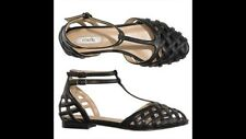 Avon Mark Flat Black Shoes Size 7 On Weave Sandals