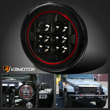 """7"""" Round Jeep Motorcycle Black Cree LED Clear Red Rim Strip Projector Headlight"""