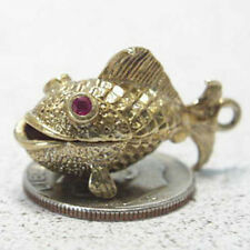 14k vintage GOLD FISH charm WORM ON HOOK Ruby GUPPY