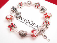 Authentic Pandora Silver Bangle Charm Bracelet with Red Love Mom European charms