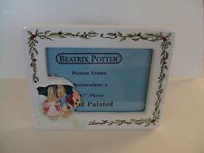 "Beatrix Potter Christmas Rabbits In The Snow Picture Frame 5""x 7"" Hand Painted"