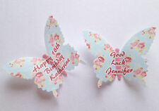 15 Personalised Vintage Floral Edible Wafer Paper Butterflies Cupcake Toppers