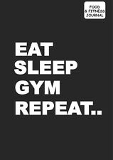Food and fitness tracker diary Diet Journal grey cover eat sleep gym repeat x 1