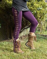 LACE-UP PIXIE PSY TRANCE STEAMPUNK LEGGINGS,FESTIVAL,GOTH, SIZE 10/12/14 HIPPY