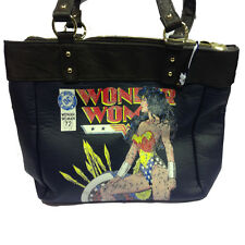 Bag WONDER WOMAN love girl in fake blue leather e brown 41,5x28,5