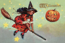 Tuck Halloween Witch - New 4x6 Vintage Postcard Image Photo Print - HA001