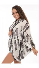 Feather Print Viscose Cocoon Kimonos Cardigan Shrug Cover Up Casual Beach Pool