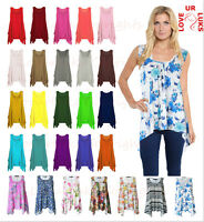 Womens Hanky Hem Printed Ladies Floral Sleeveless Scoop Neck Long Tunic Vest