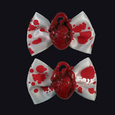 Kreepsville 666 Red Heart Hair Bow. Horror, Gore. Fancy Dress. Zombie. Halloween