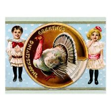 "*Postcard-""Thanksgiving Greetings-""2 Children Next to Turkey Plate"" (#149)"