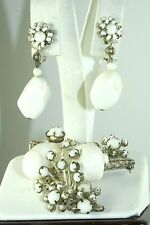 VINTAGE WHITE GLASS & SHELL MIRIAM HASKELL PIN EARRINGS SET