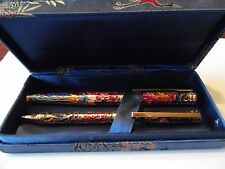 Vintage Cloisonne Pen Set Fountain and Ball Point.
