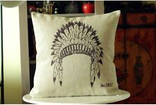 Linen Cotton Rustic American Indian Hat Feathers Cushion Cover Gift Vintage Hemp