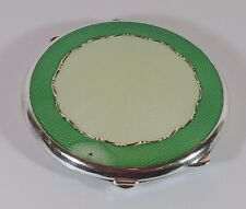 ANTIQUE HM STERLING SILVER & 2 TONE GREEN GUILLOCHE ENAMEL POWDER COMPACT 1945