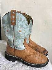 Women's ARIAT Cowgirls Western Boots Brown/Blue Leather Size 7.5 B