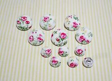 12 Wild Rose Fabric Covered Buttons