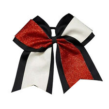 White Silver,Red Glitter Large Cheerleading Cheer Bow With Elastic Band For Girl