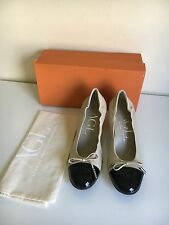 *NEW* Attilio Giusti Leombruni cap toe bow Pumps Sz 38 Nude AGL $345 Stretch
